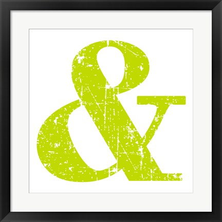 Framed Lime Ampersand Print
