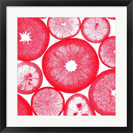 Framed Red Lemon Slices Print