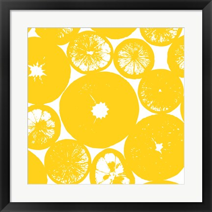 Framed Yellow Lemon Slices Print