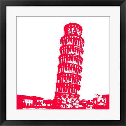 Framed Pisa in Red Print