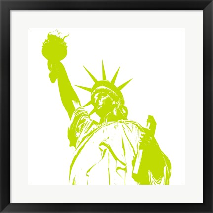 Framed Liberty in Lime Print