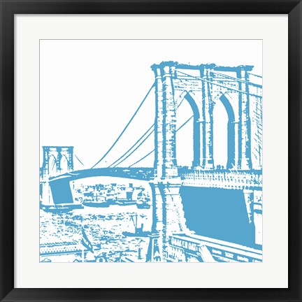 Framed Blue Brooklyn Bridge Print