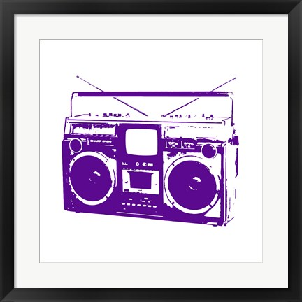Framed Purple Boom Box Print