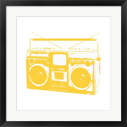 Framed Yellow Boom Box Print