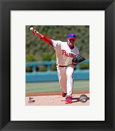 Framed Roy Halladay Basball Passing Action Print