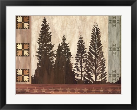 Framed Pine Trees Lodge I Print