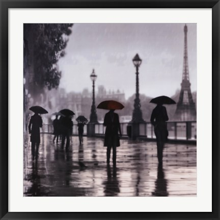 Framed Paris Red Umbrella Print