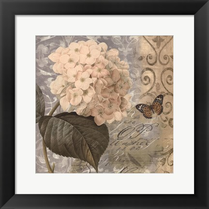 Framed Flowers Butterfly I Print