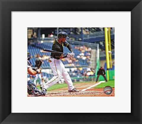 Framed Starling Marte Hitting Baseball Print