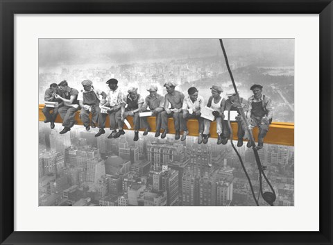 Framed Lunch Atop A Skyscraper. Print