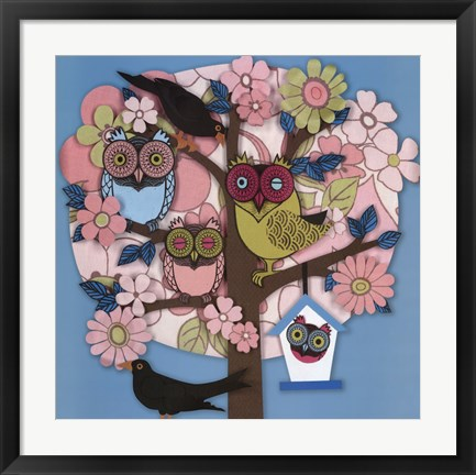 Framed Summer Owl Tree Print