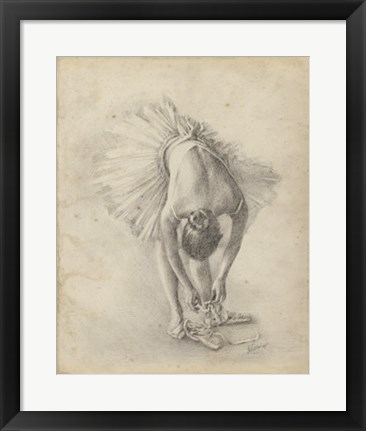 Framed Antique Ballerina Study I Print