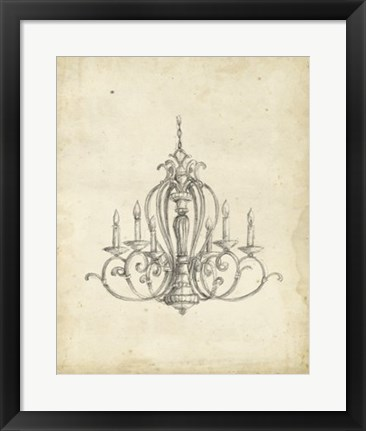 Framed Classical Chandelier I Print
