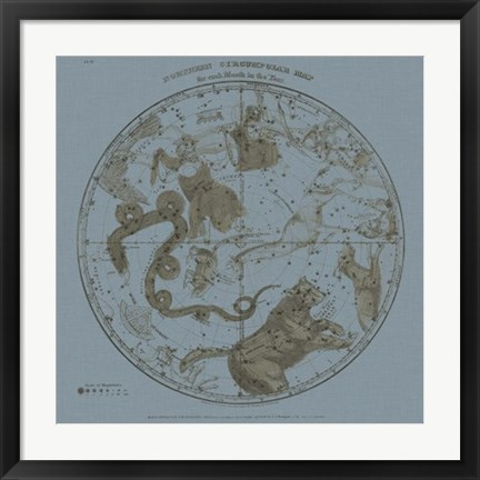 Framed Northern Circumpolar Map Print