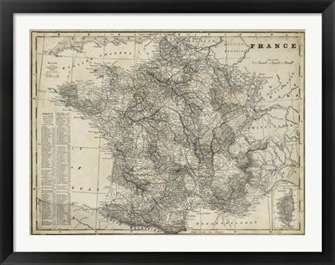 Framed Antique Map of France Print