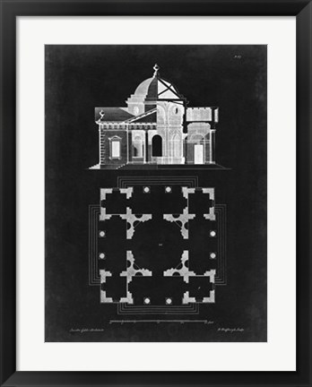 Framed Graphic Building & Plan III Print