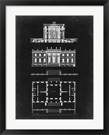 Framed Graphic Building & Plan IV Print