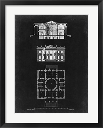 Framed Graphic Building & Plan V Print