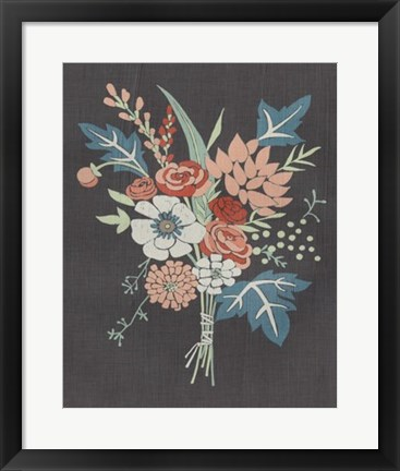 Framed Coral Bouquet I Print