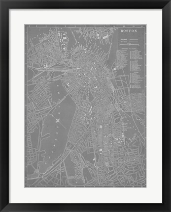Framed City Map of Boston Print