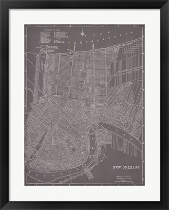 Framed City Map of New Orleans Print
