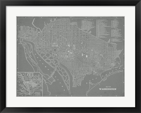 Framed City Map of Washington, D.C. Print
