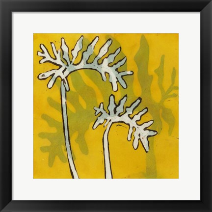 Framed Gold Batik Botanical V Print
