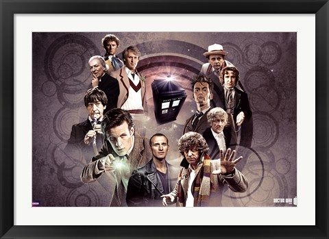 Framed Doctor Who - Doctors Collage Print