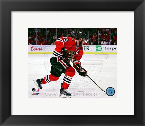 Framed Jonathan Toews 2012-13 Playoff Action Print