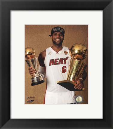 Framed LeBron James with the NBA Championship & MVP Trophies Game 7 of the 2013 NBA Finals Print