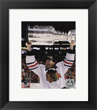 Framed Duncan Keith with the Stanley Cup Game 6 of the 2013 Stanley Cup Finals Print