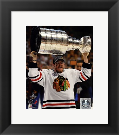 Framed Andrew Shaw with the Stanley Cup Game 6 of the 2013 Stanley Cup Finals Print