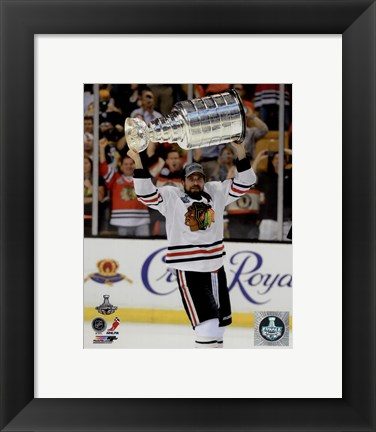 Framed Patrick Sharp with the Stanley Cup Game 6 of the 2013 Stanley Cup Finals Print