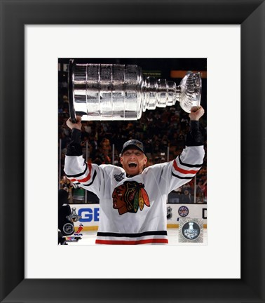 Framed Marian Hossa with the Stanley Cup Game 6 of the 2013 Stanley Cup Finals Print