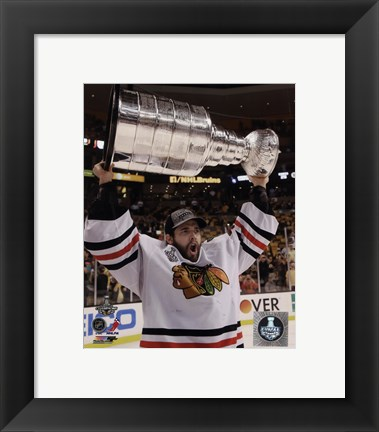 Framed Corey Crawford with the Stanley Cup Game 6 of the 2013 Stanley Cup Finals Print