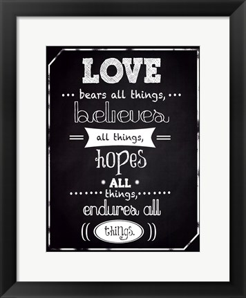 Framed Love Endures Print
