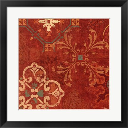 Framed Crimson Stamps II Print