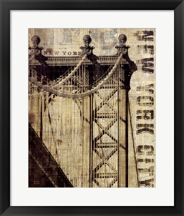 Framed Vintage NY Manhattan Bridge Print