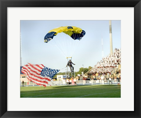 Framed U.S. Navy Demonstration Parachute Team, the Leap Frogs, Lands at the 50 Yard Line of Aggie Stadium Greensboro NC Print