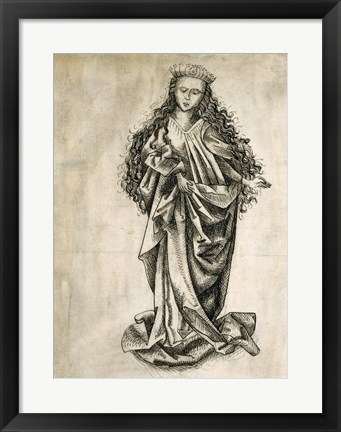 Framed Standing Female Saint Print
