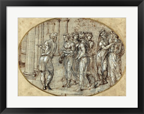 Framed Odysseus and the Daughters of Lycomedes Print