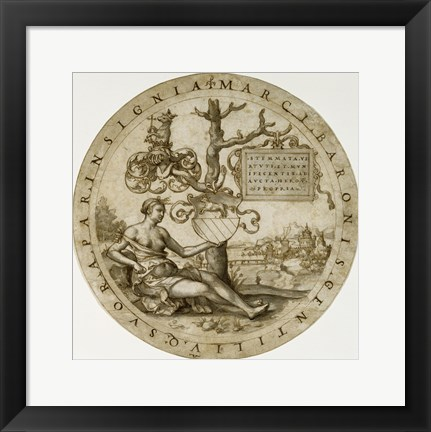 Framed Study for a Stained-Glass Window with the Coat of Arms of the Barons von Paar Print