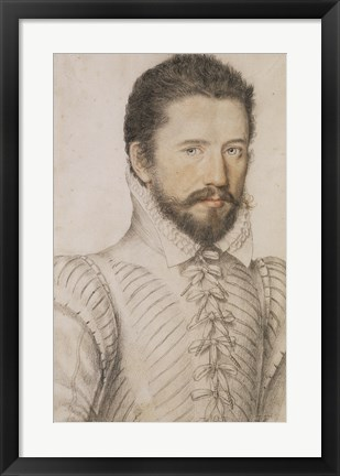 Framed Portrait of a Bearded Man Wearing a Slashed Doublet Print