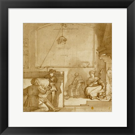 Framed Taddeo in the House of Giovanni Piero Calabrese Print