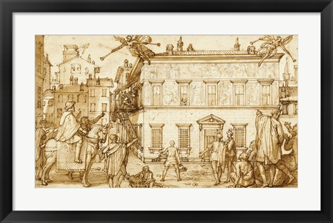 Framed Taddeo Decorating the Facade of Palazzo Mattei Print
