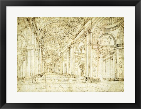 Framed Interior of Saint Peter's Basilica Print