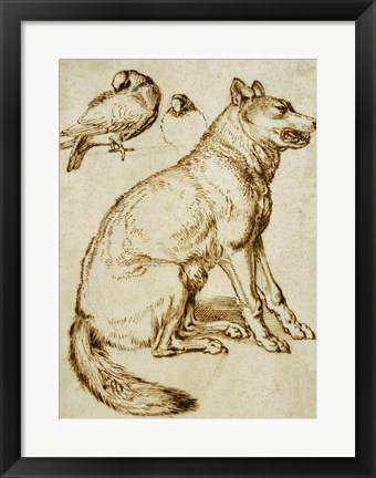 Framed Wolf and Two Doves Print