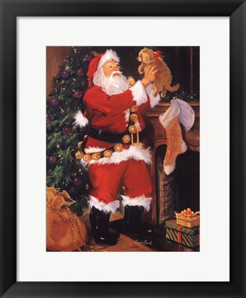 Framed Santa With Puppy Print