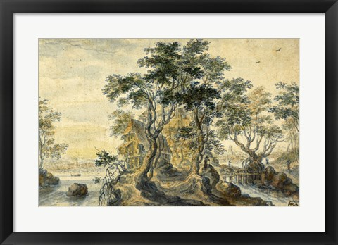 Framed River Landscape with House on a Rocky Island Print