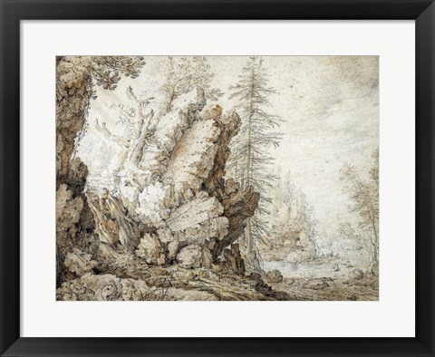 Framed Landscape with Waterfall Print